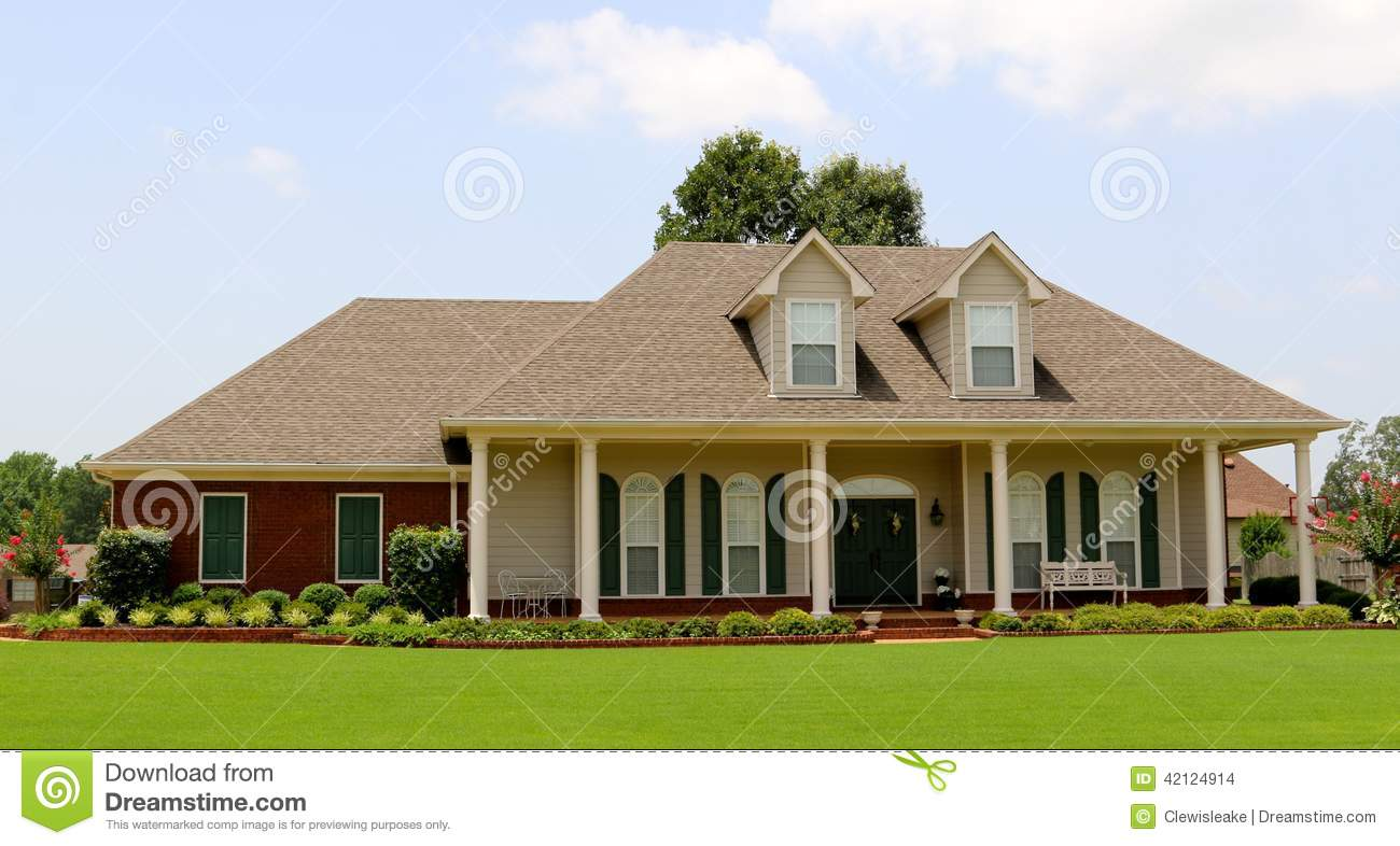Beautiful two story ranch style home stock photo image for Two story ranch house