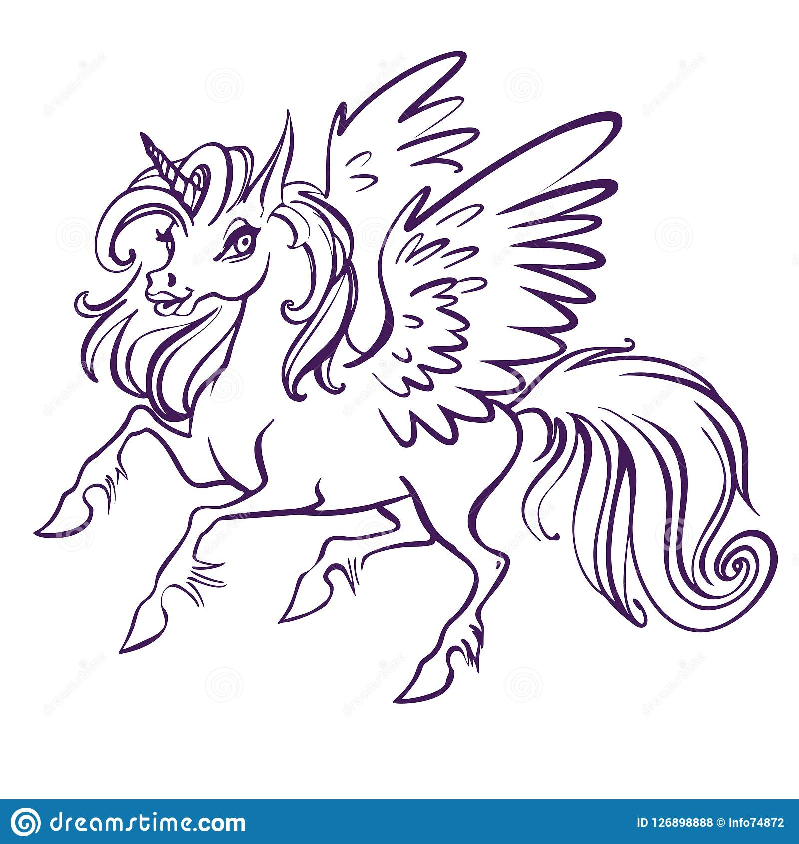 Beautiful Unicorn Vector Illustration Magic Fantasy Horse Design For Kids T Shirt And Bags Unicorn With Rainbow Hairs Stock Illustration Illustration Of Horn Symbol 126898888