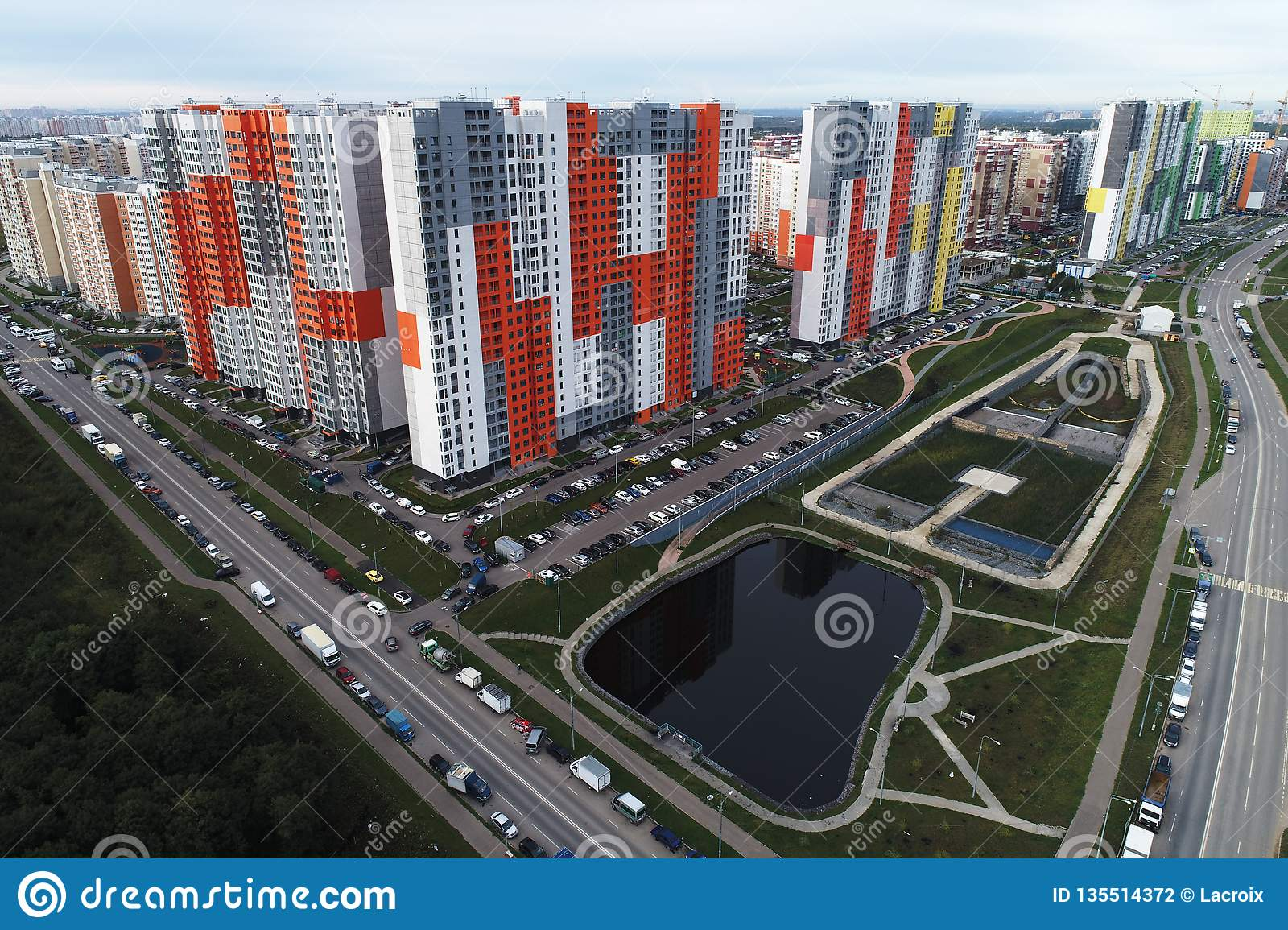Beautiful urban landscape and real estate `Butovo Park 2` district, Moscow, Russia