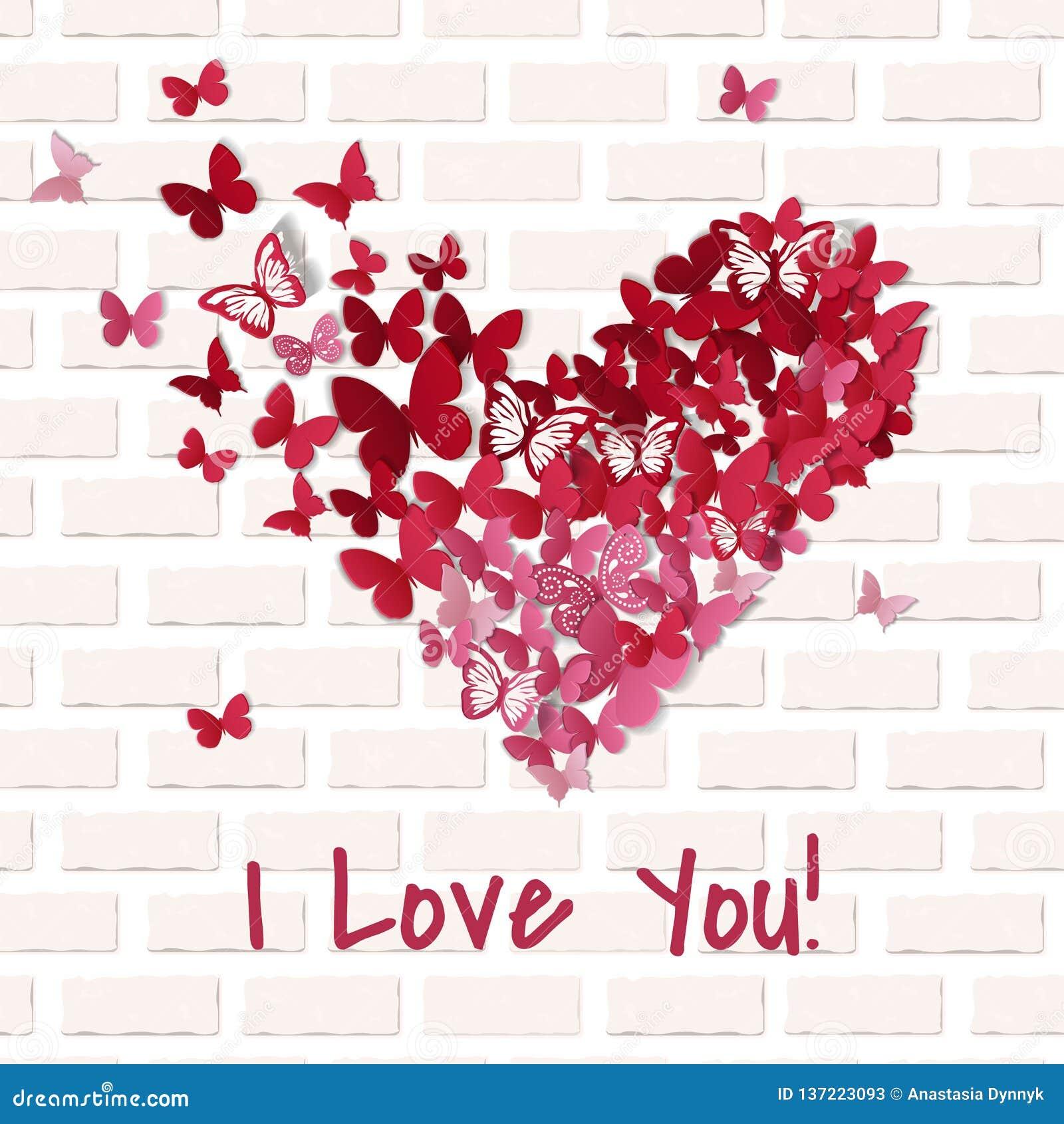 beautiful valentine heart butterfly background valentine