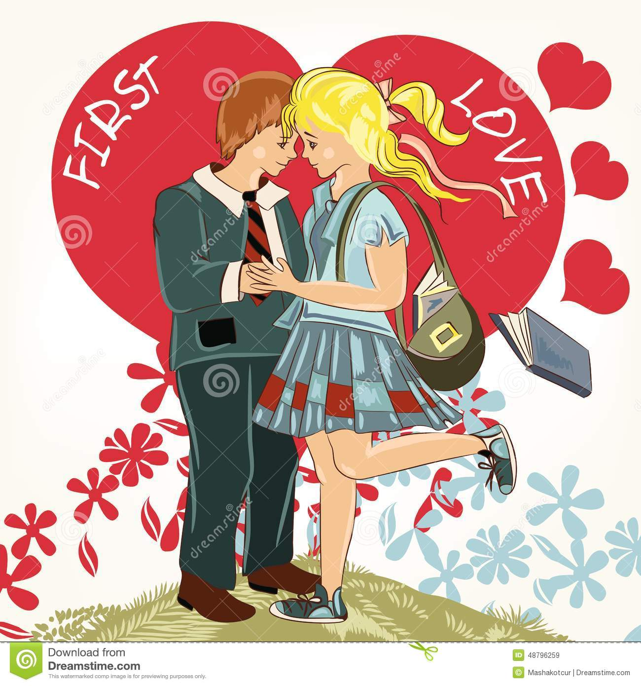 Beautiful Valentines Day Card With Couple Of Student Girl And – Boy Valentines Day Cards