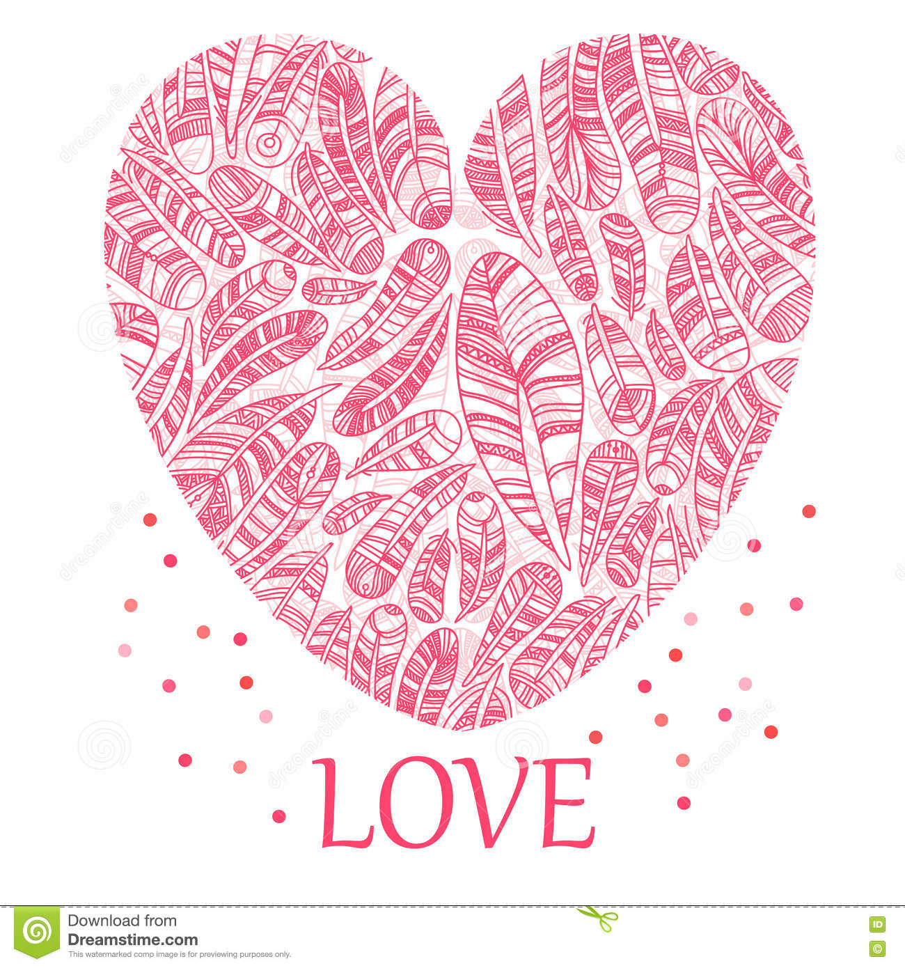 Beautiful Valentine S Day Heart With Ethnic Feathers Stock
