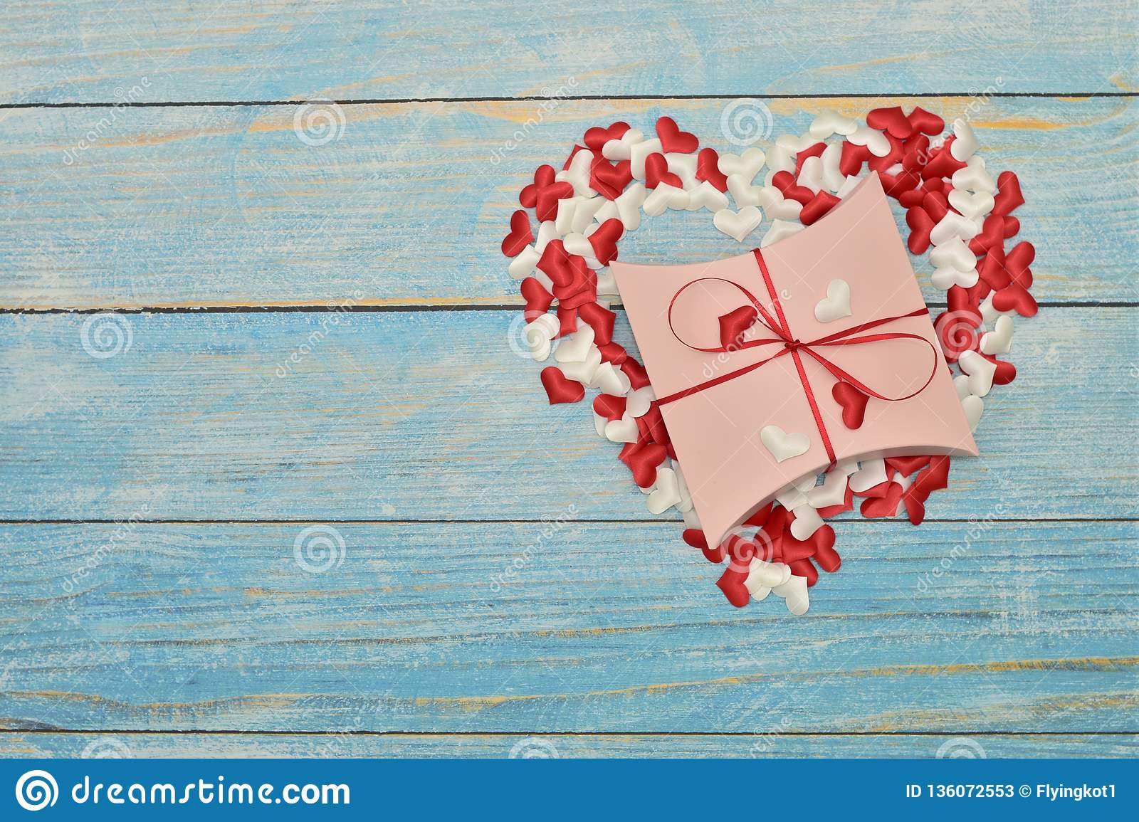 Beautiful Valentines Day Gift Box On Blue Wooden Background