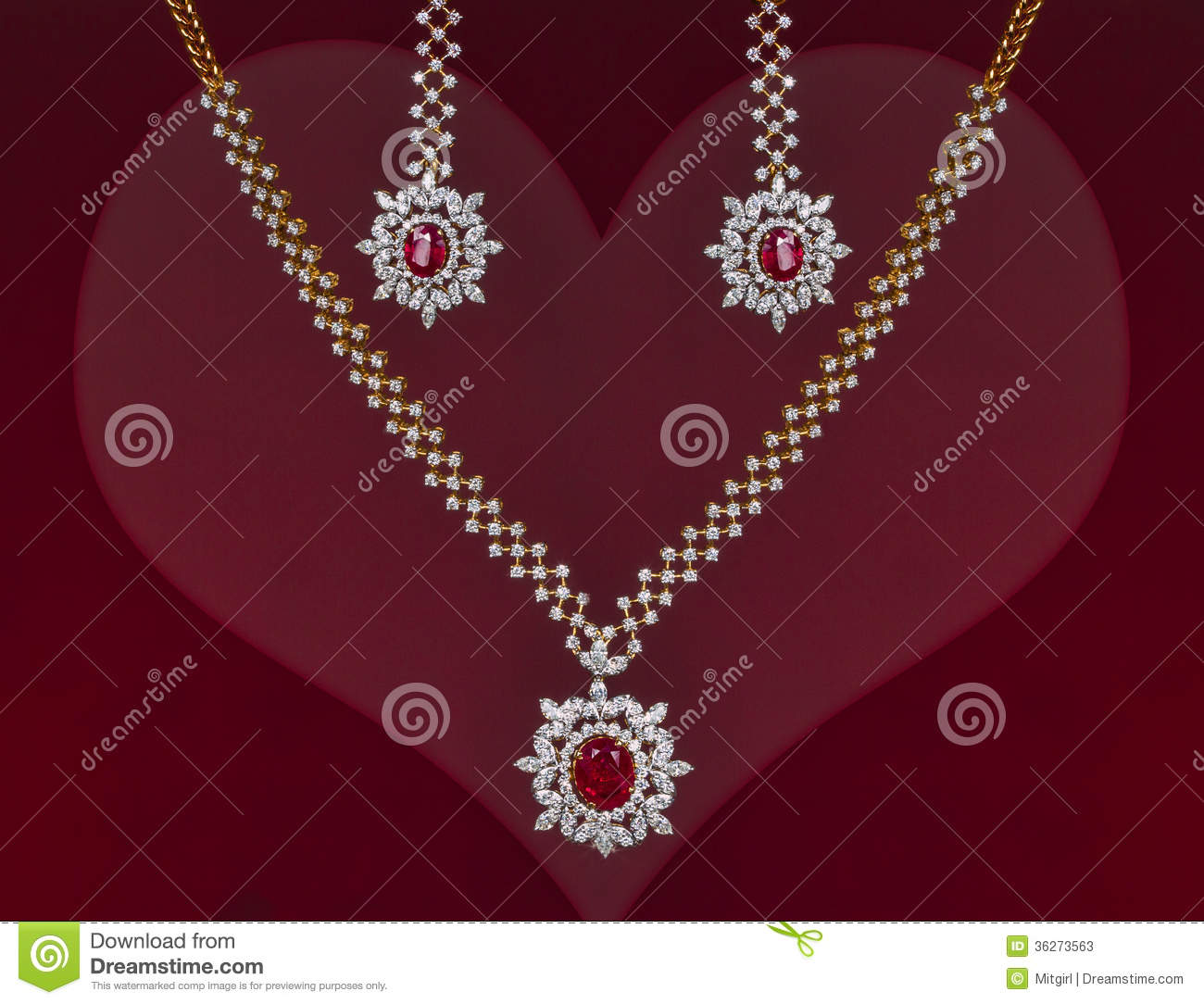 Beautiful Valentines Gift Of A Jewelry Set Stock Image