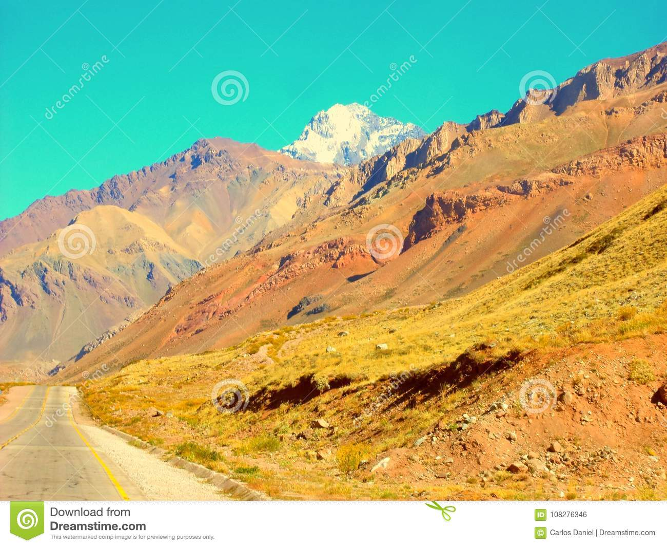A beautiful valley of mountains by Ruta 40 Mendoza Argentina