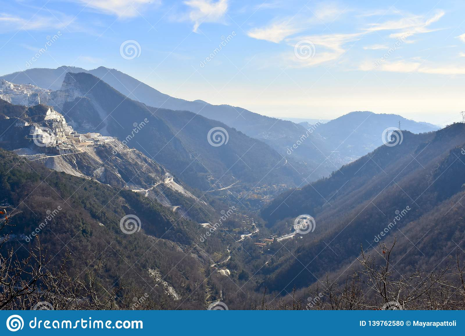 Beautiful valley between the mountains of the trekking in Carrara, Italy.