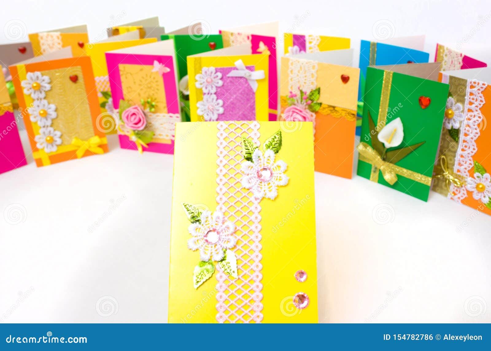 beautiful varied handmade greeting cards stock photo