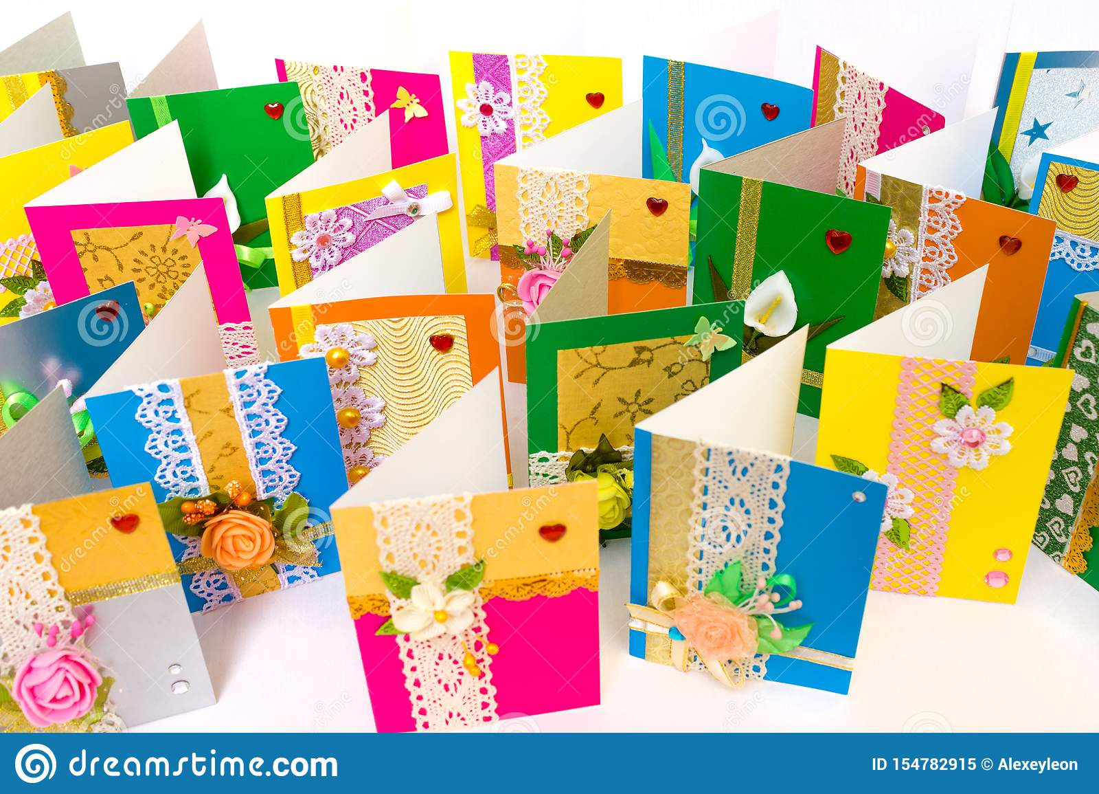 beautiful varied handmade greeting cards stock image