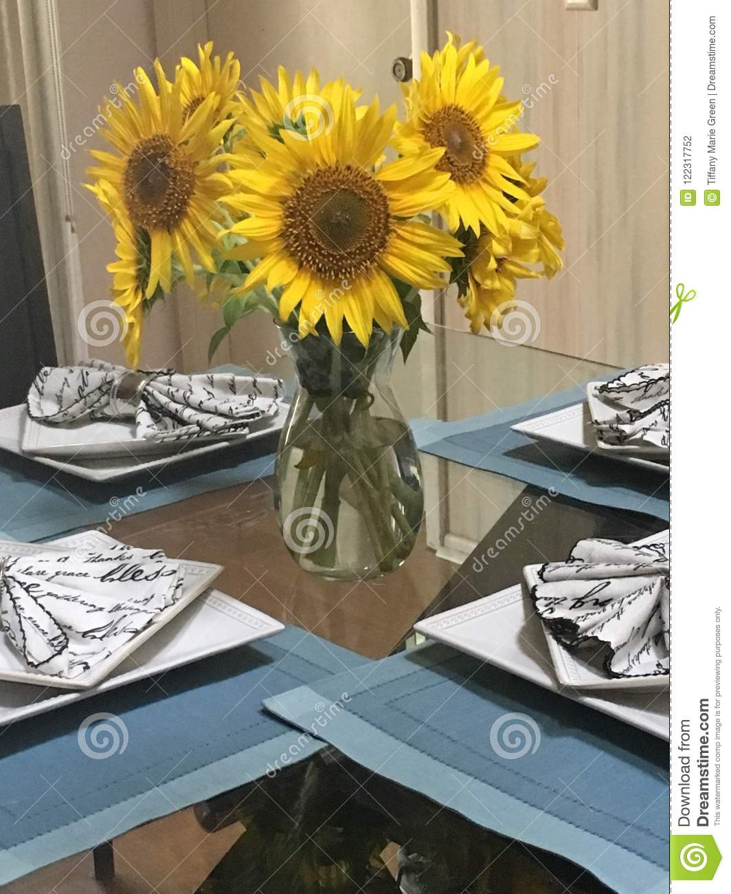 The Beautiful Vase Of Flowers Stock Photo Image Of Centerpiece Sunflowers 122317752