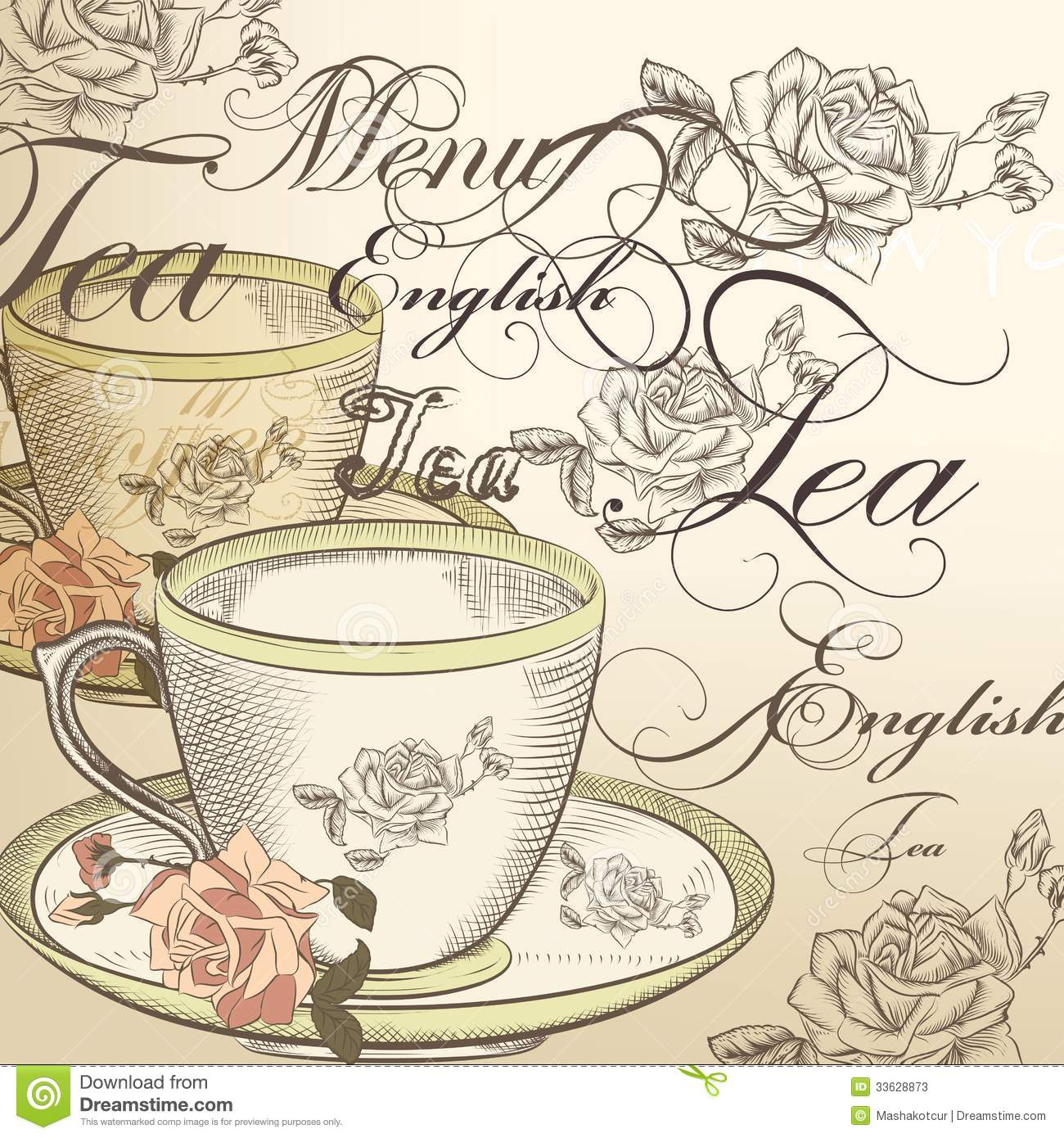 Beautiful vector background with cup of tea and roses in vintage