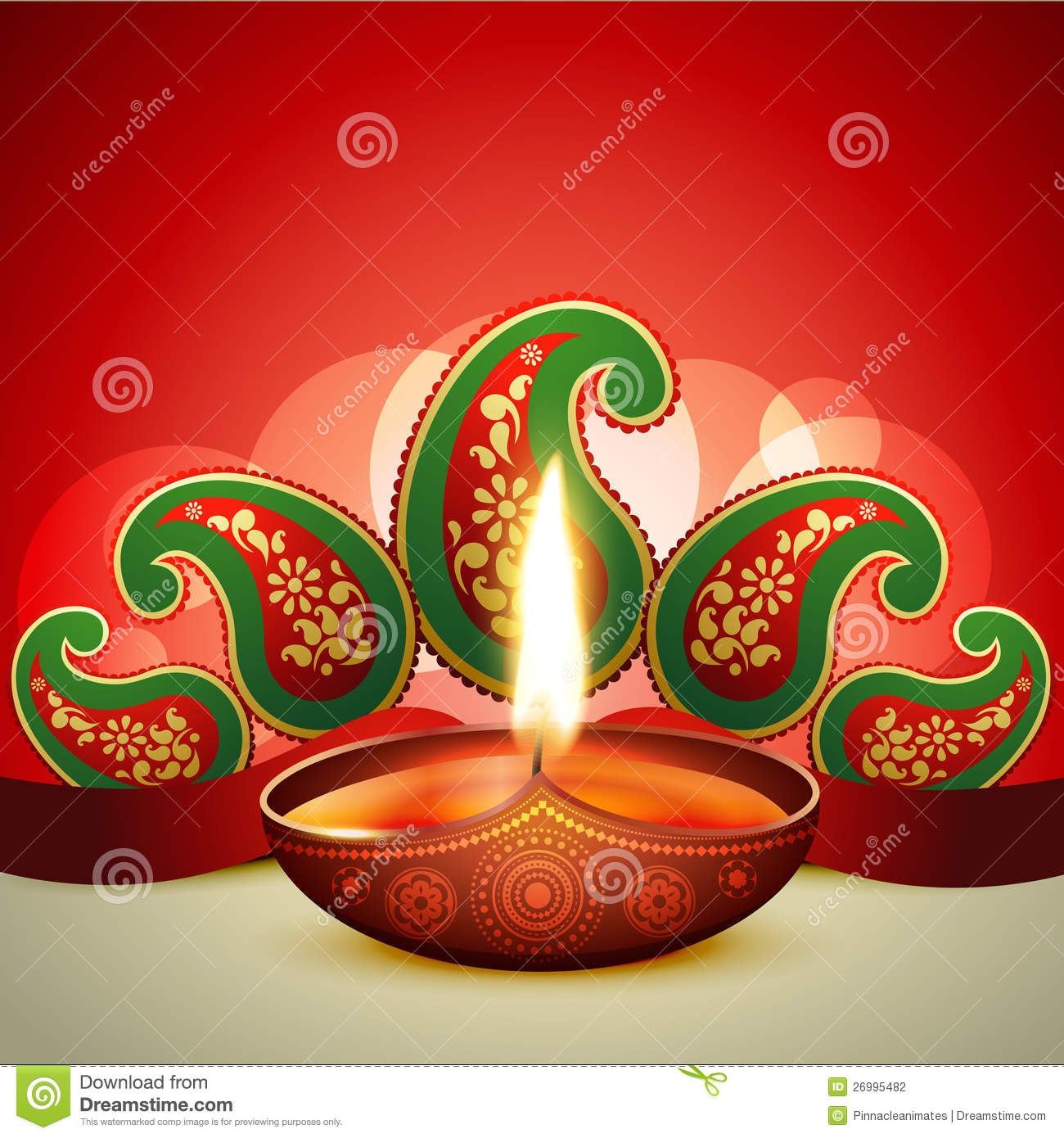 Beautiful vector diwali diya