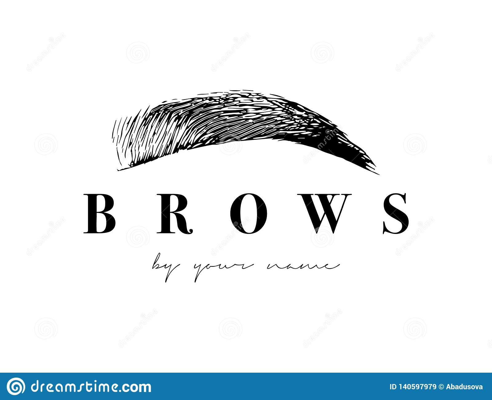 Beautiful Vector Hand Drawing Eyebrows For The Logo Of The Master On