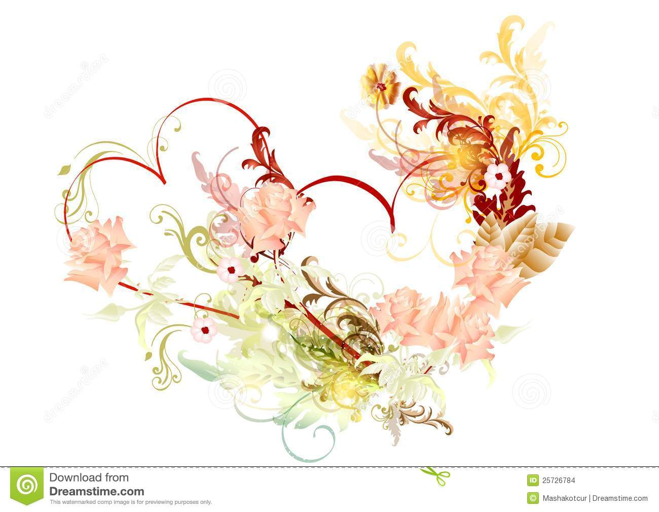 Beautiful vector hearts with roses