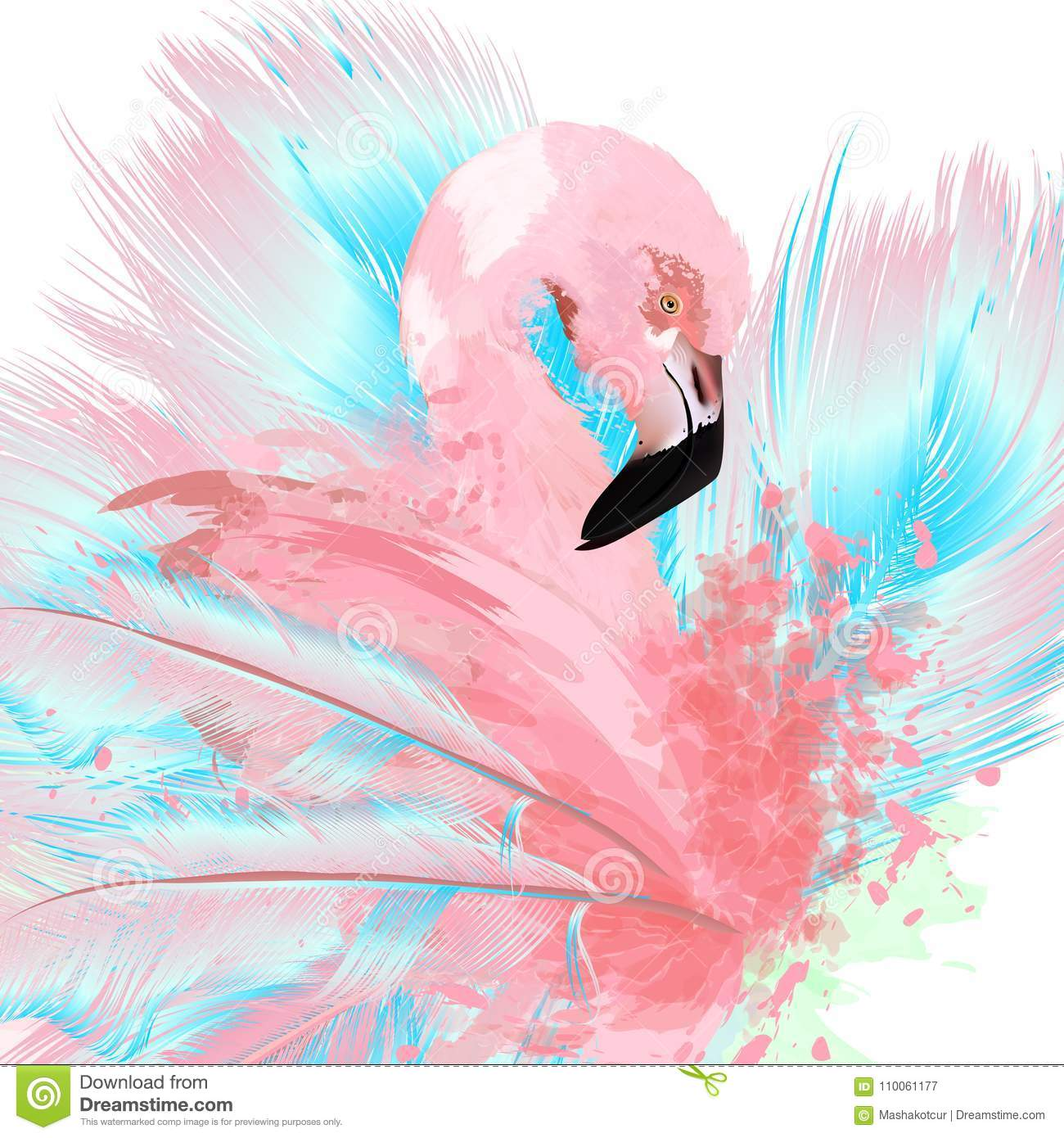 Beautiful vector illustration with drawn pink flamingo and blue