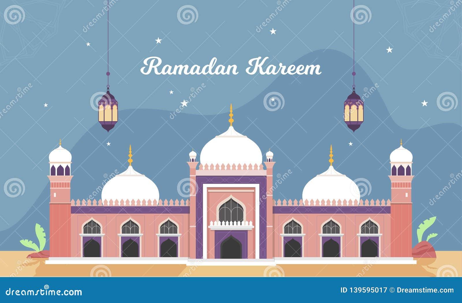 Ramadan Vector Illustration with lantern and crescent moon