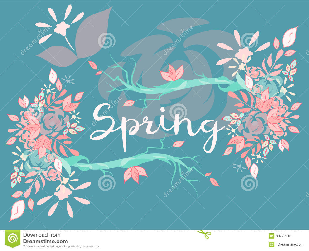 Beautiful Vector Lettering On Spring Season Stock Vector