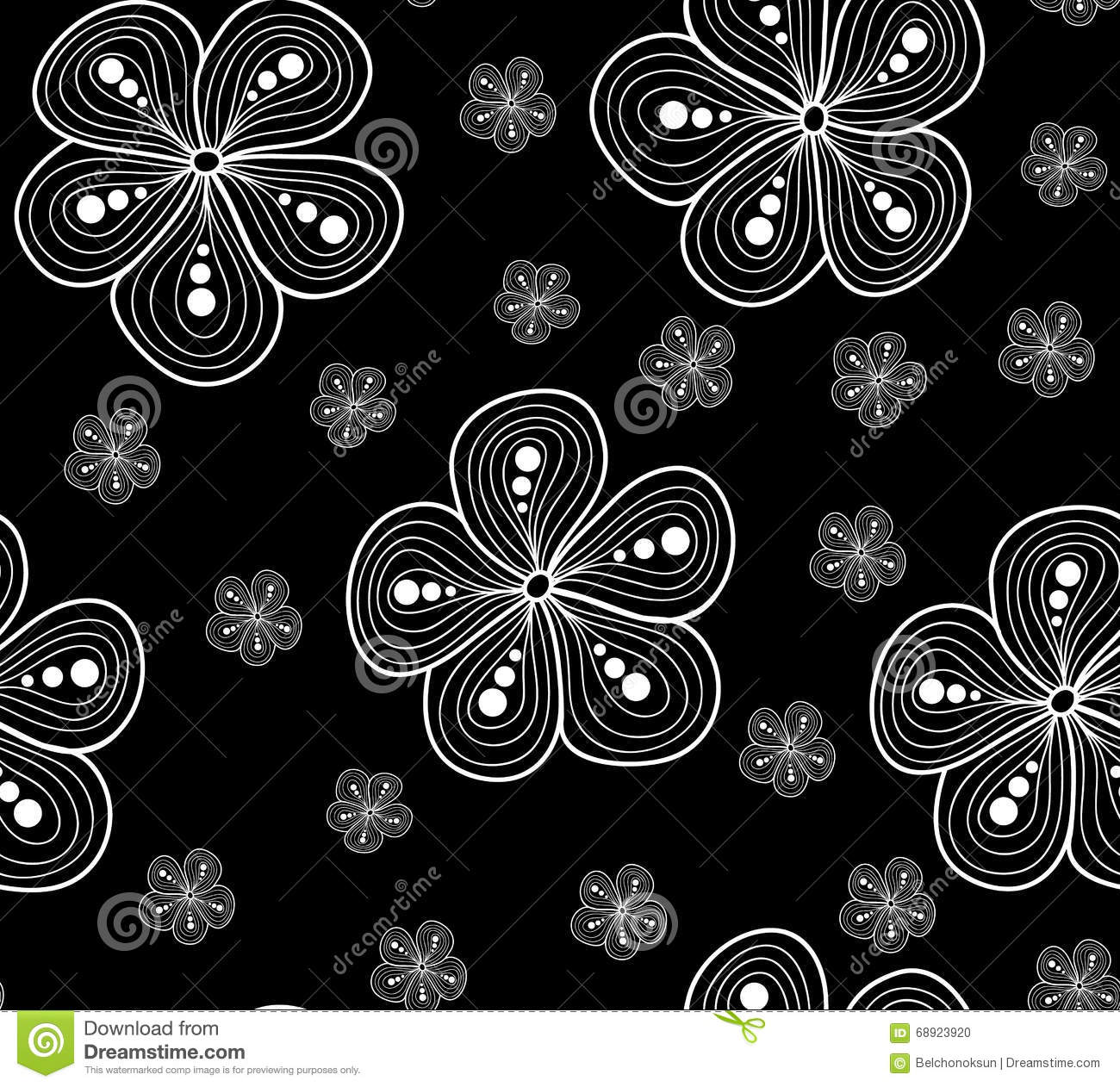 Beautiful vector seamless pattern with figured flowers, black and white floral texture