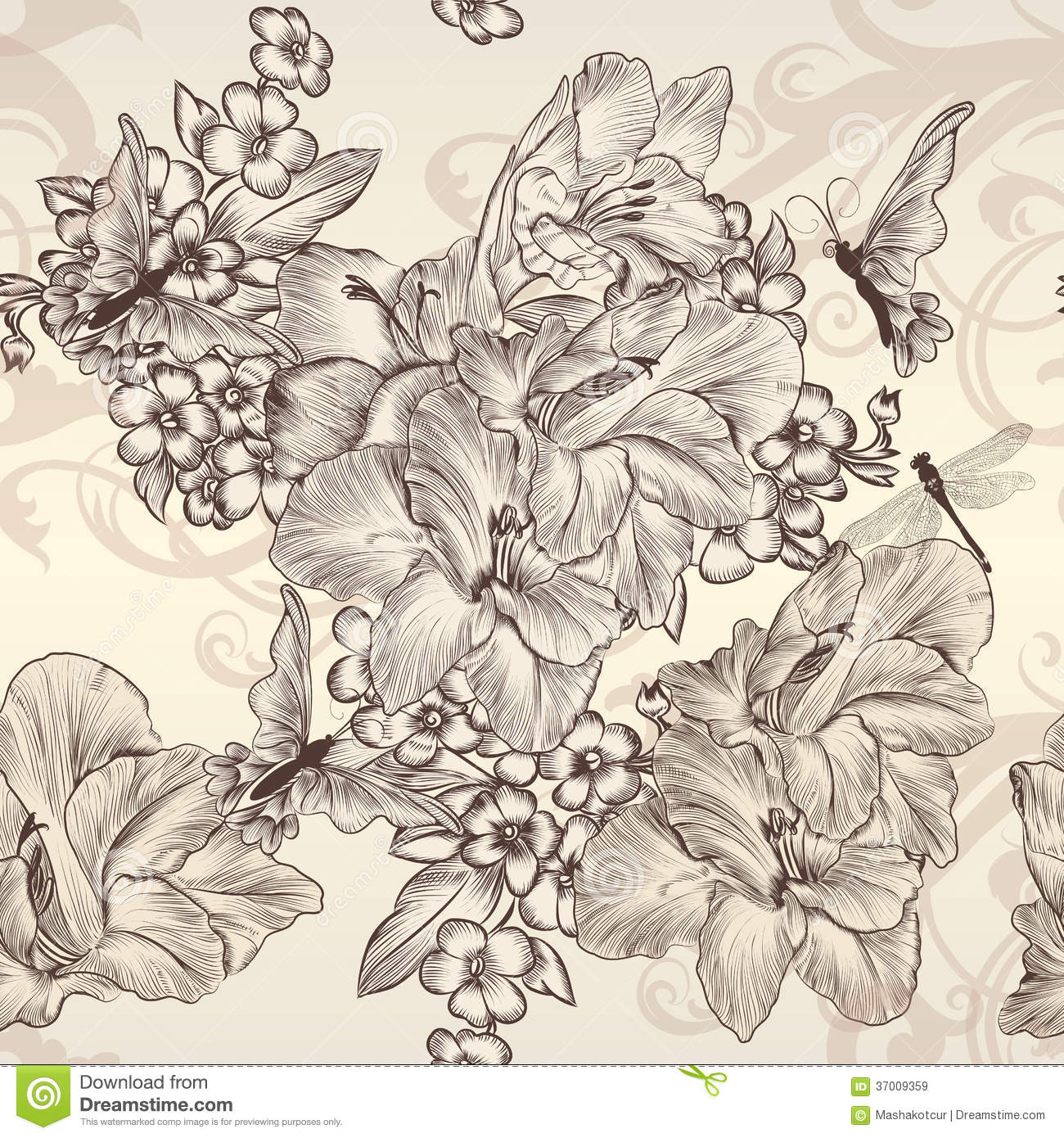 Beautiful vector seamless wallpaper with flowers in - Papel pared vintage ...