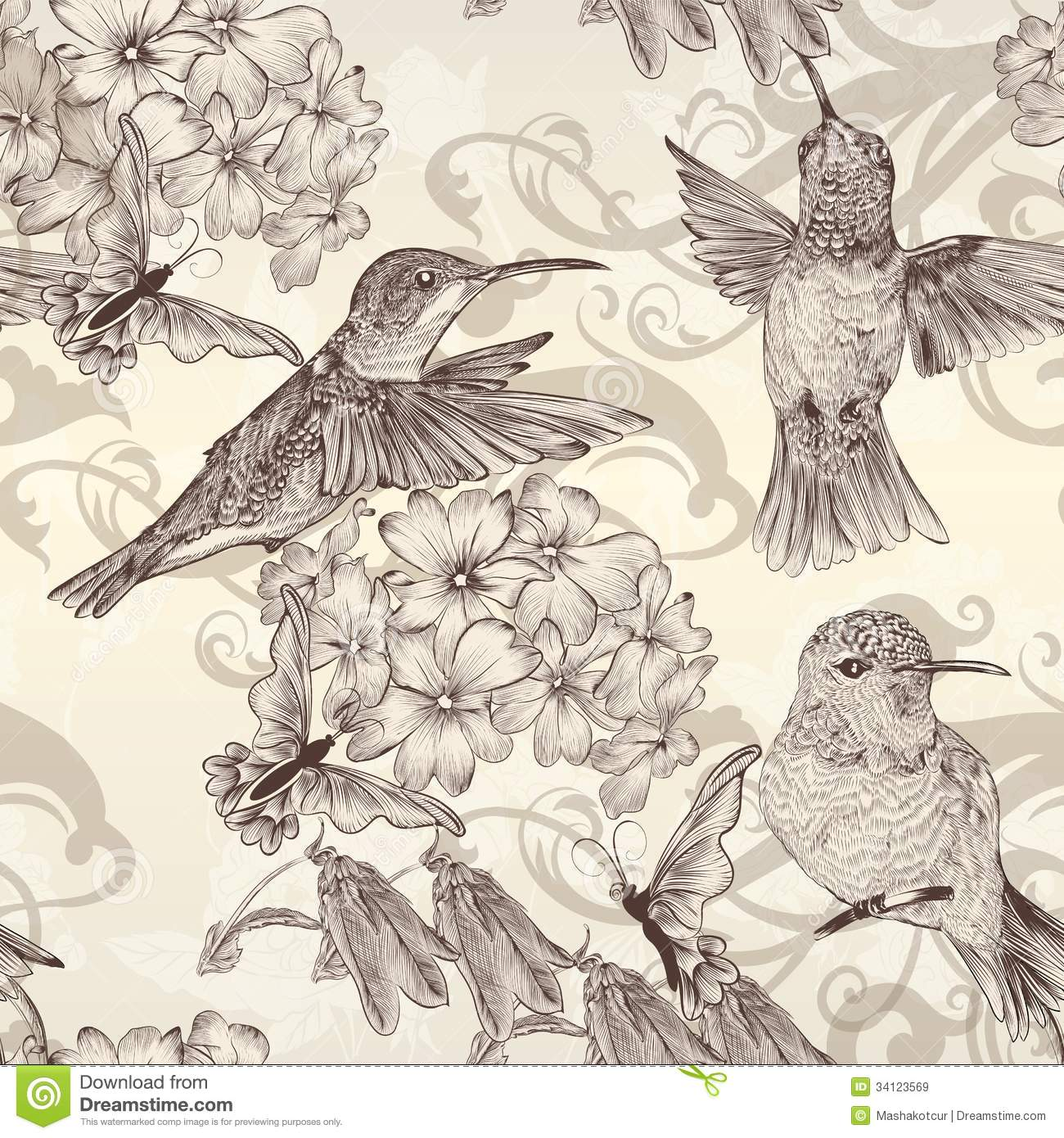 Beautiful Vector Seamless Wallpaper With Humingbirds In