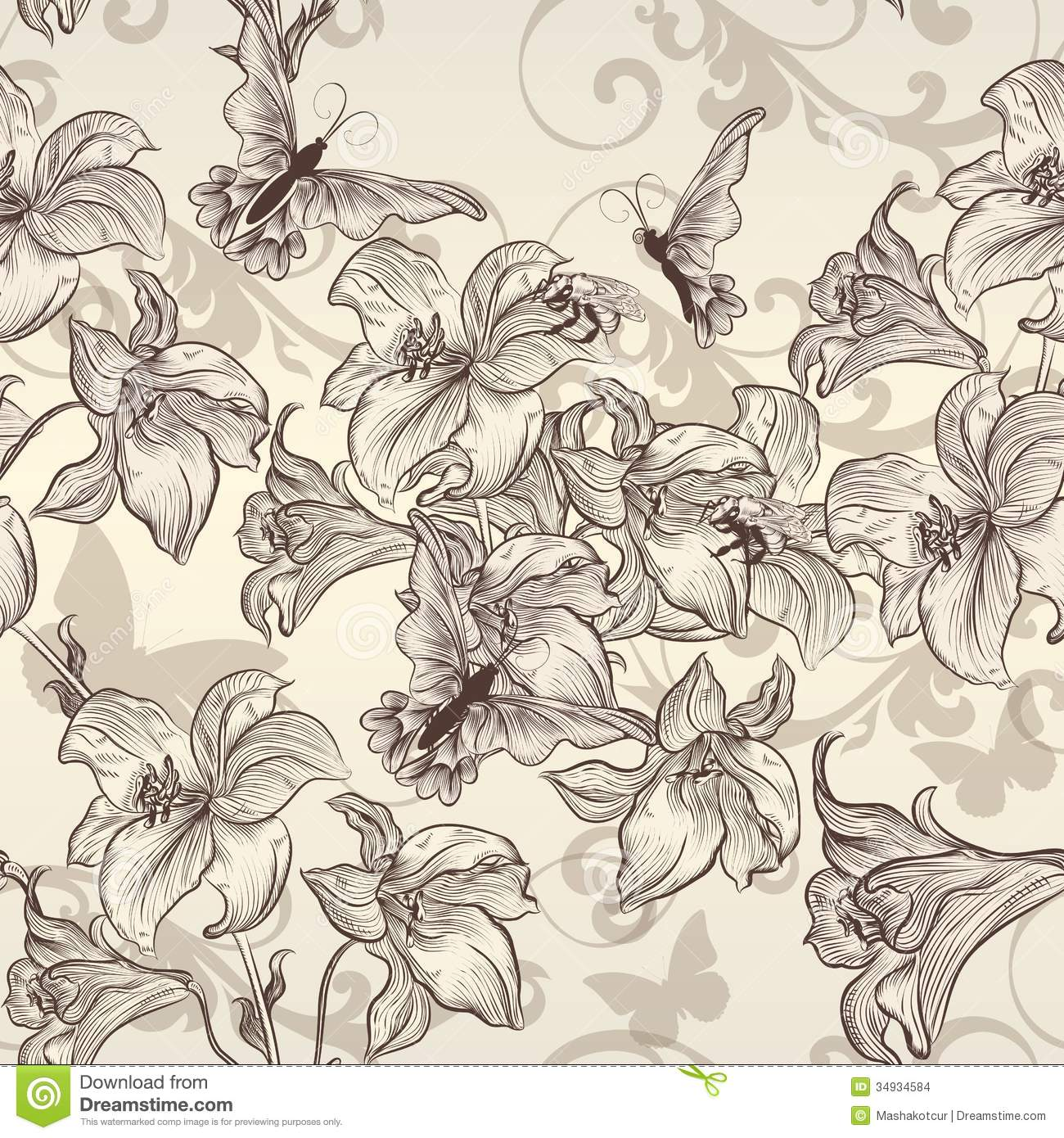 beautiful vector seamless wallpaper with lily in vintage