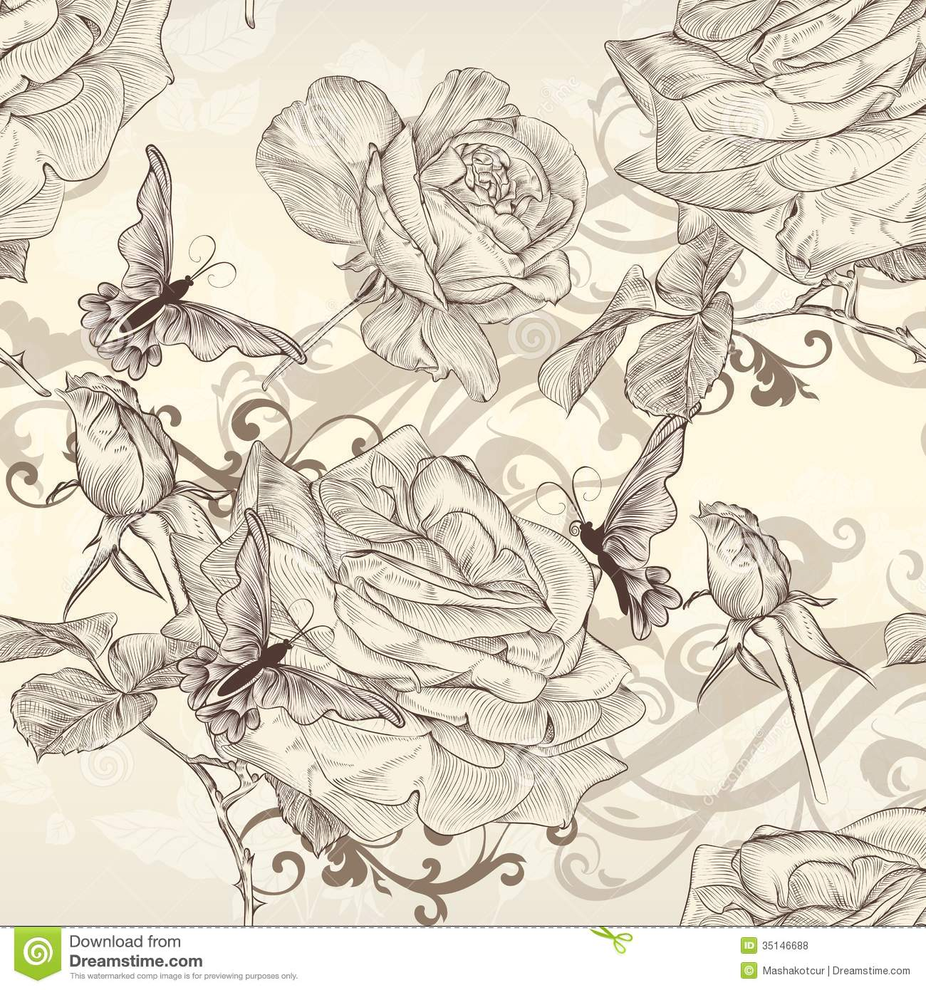 beautiful vector seamless wallpaper with roses in vintage
