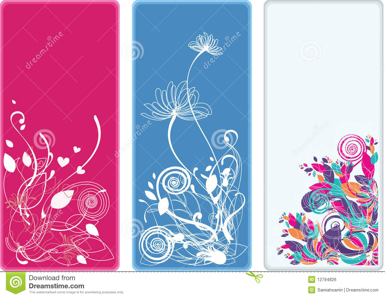 Beautiful Vertical Floral Bookmarks And Banners Royalty