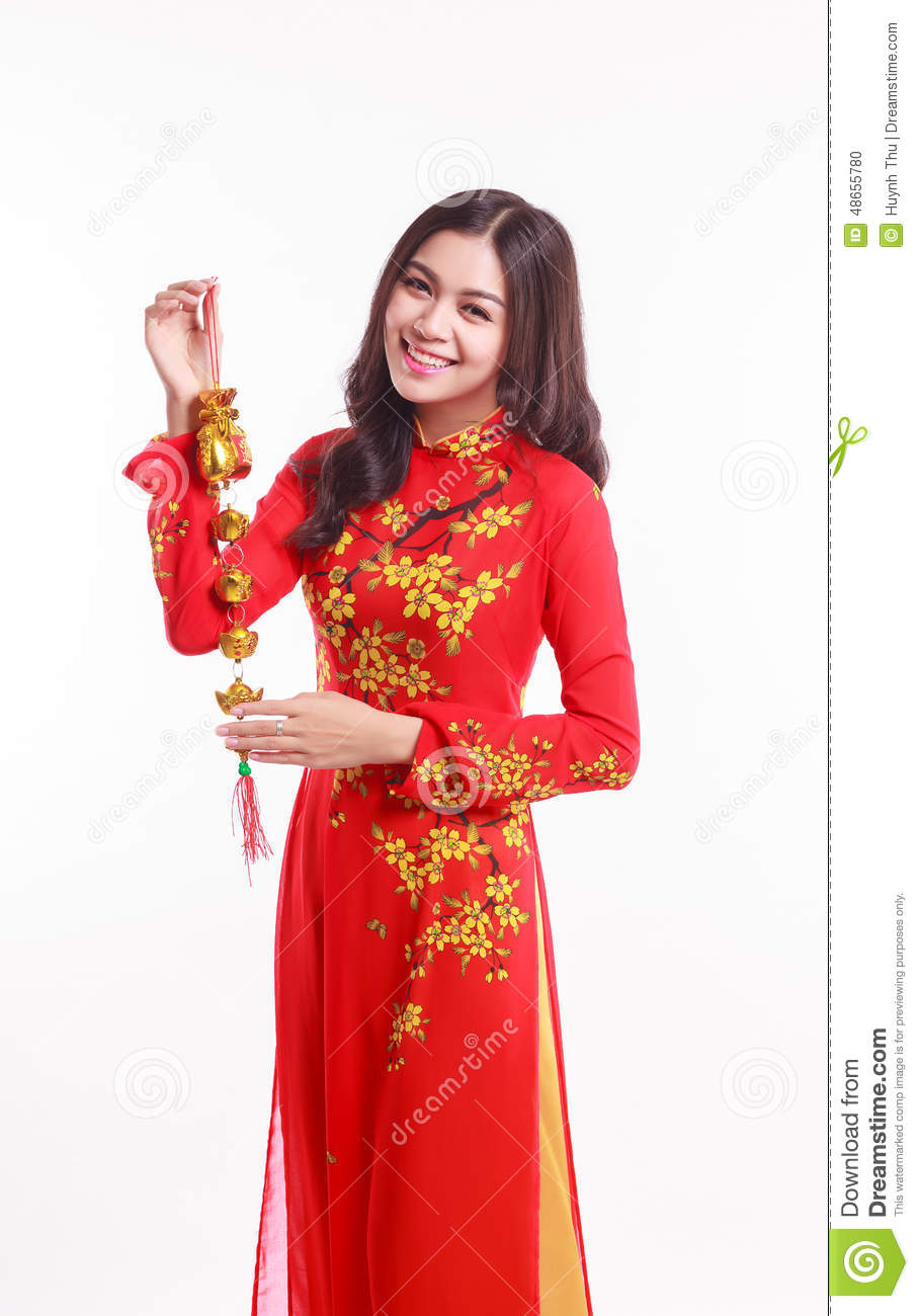 Beautiful Vietnamese Woman With Red Ao Dai Holding Lucky