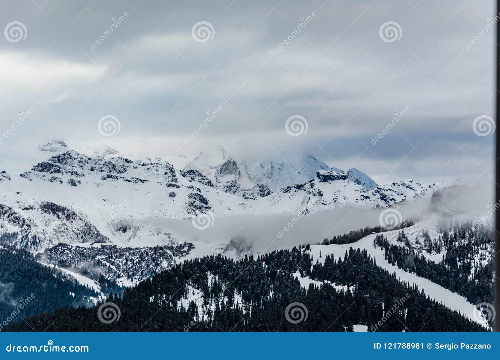 beautiful view at the alpine village corvara ski resort in dolom