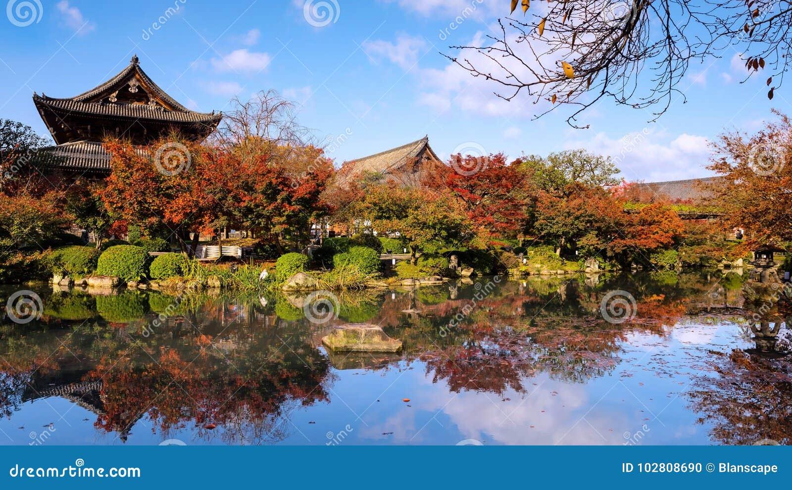 Autumn Garden At Toji Temple, Kyoto Stock Photo - Image of landmark ...