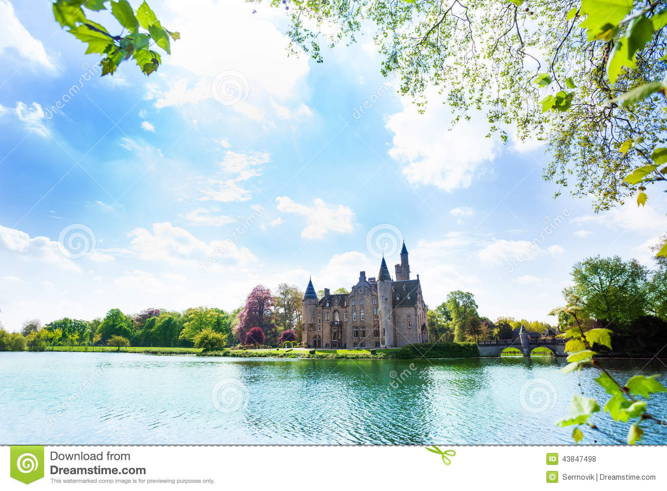 Beautiful view of bornem castle on the river near antwerp in belgium