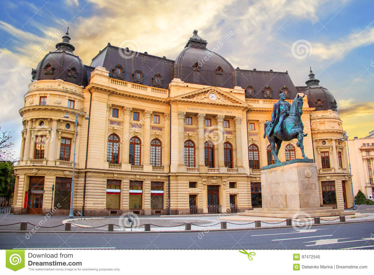 Beautiful view of the building of the Central University Library with equestrian monument to King Karol I in Bucharest, Romania