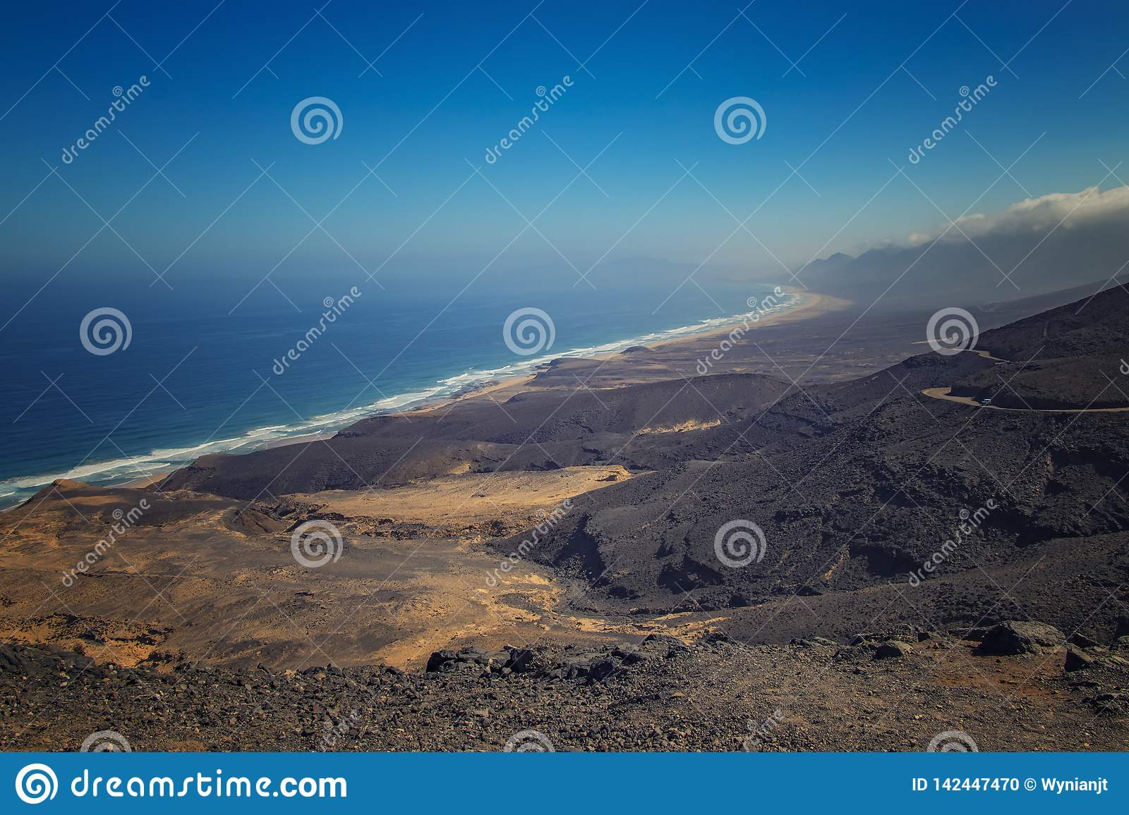 Beautiful view of the Cofete beach in Fuerteventura in the Canary Islands, Spain. It is longest beach of Europe. It is natural