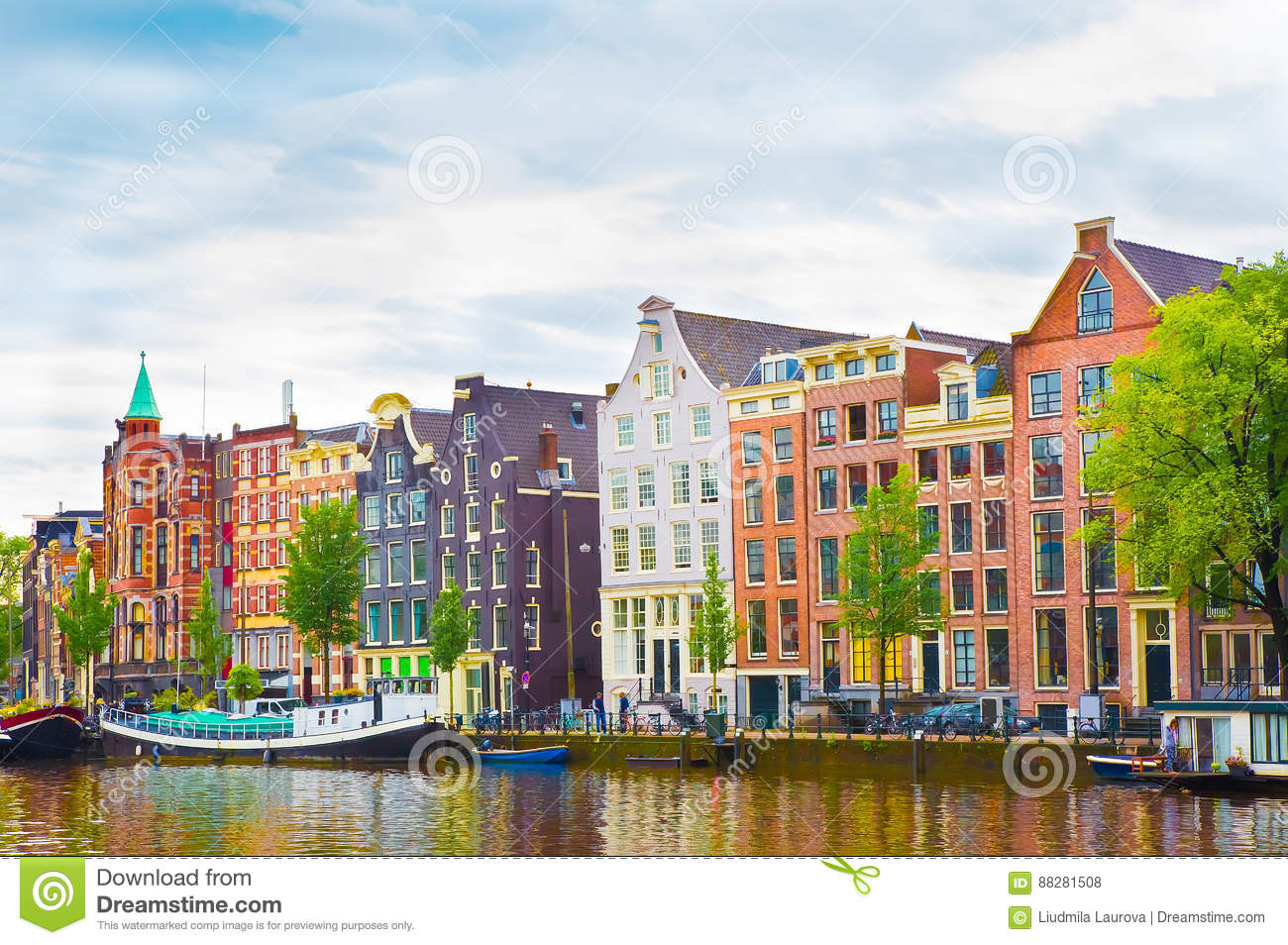 Beautiful view of the Colorful okd facades building in Amsterdam