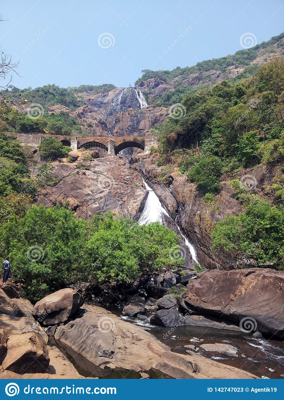 Beautiful view of Dudhsagar waterfall in Goa