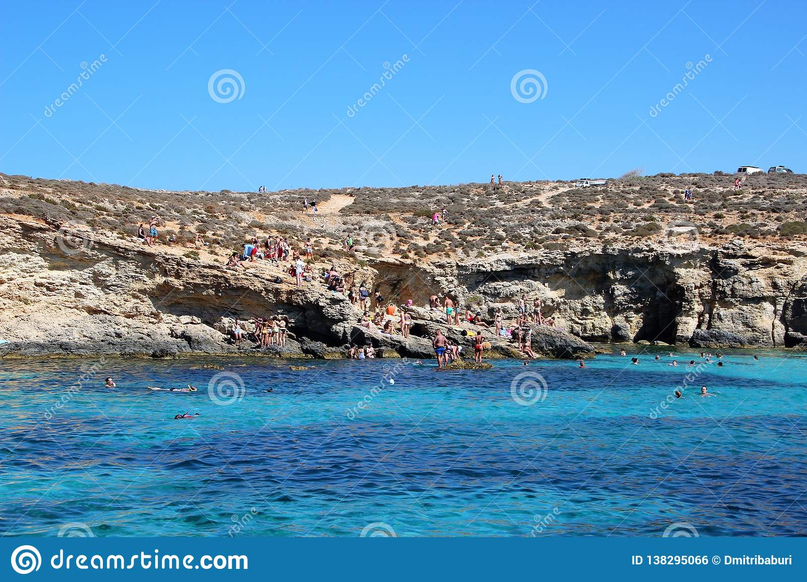 Gozo, Malta, July 2016. Beautiful view of the famous blue lagoon with blue water of different shades.