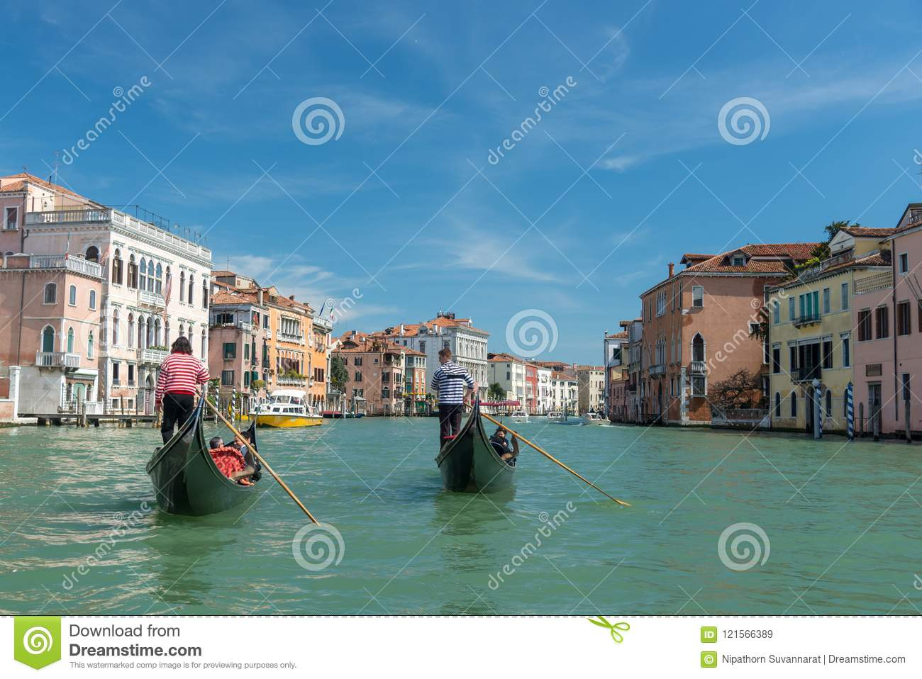 Beautiful view of Gondolas on famous Canal Grande at sunny day