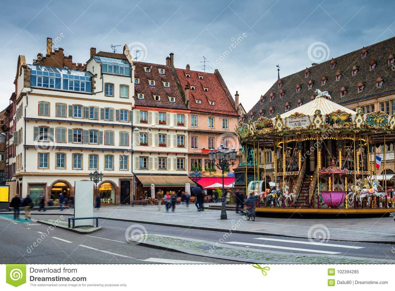 Beautiful view of the historic town of Strasbourg, colorful hous