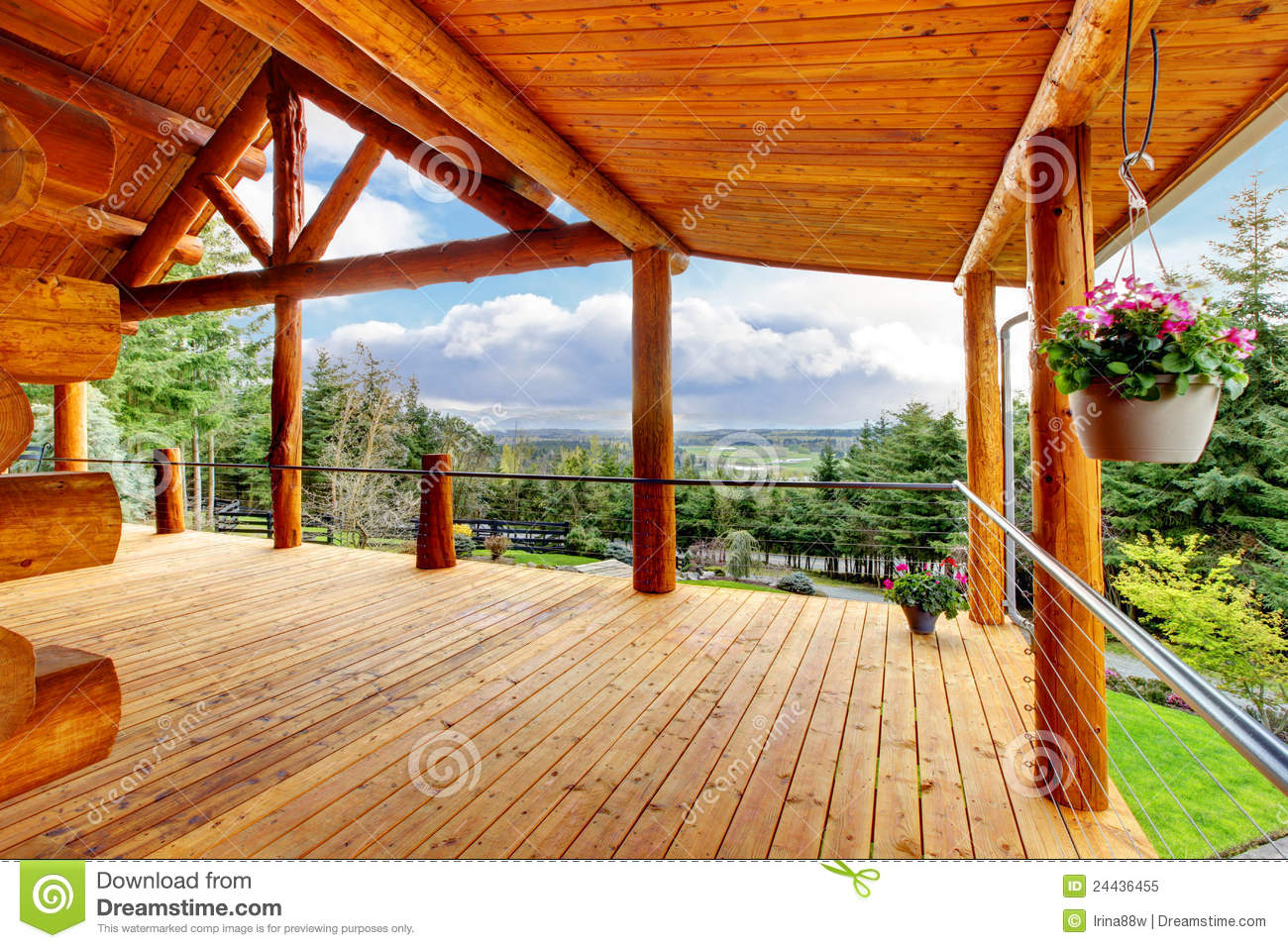 Beautiful View Of The Log Cabin House Porch Royalty Free