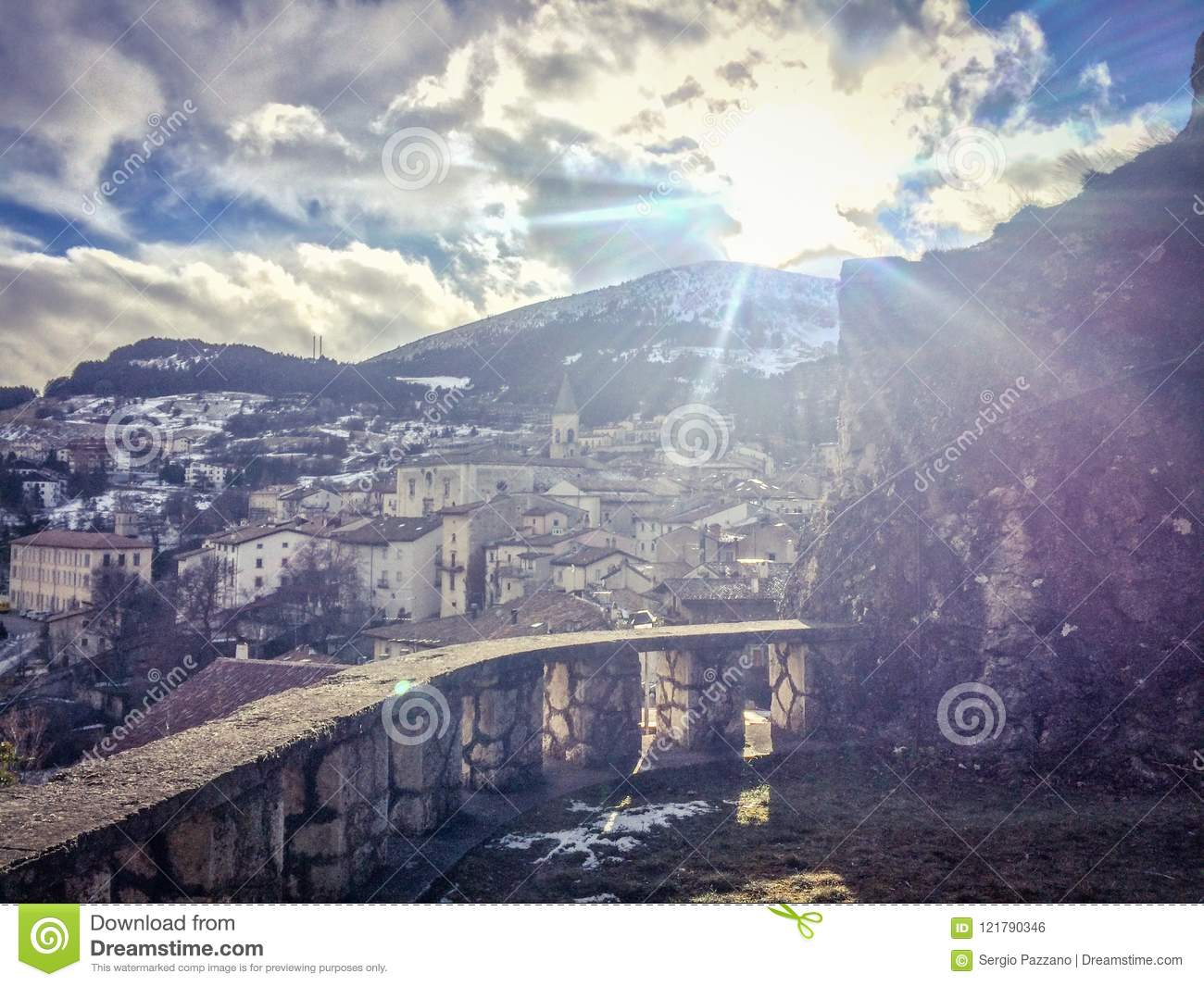beautiful view in the medieval village of pescocostanzo stock photo