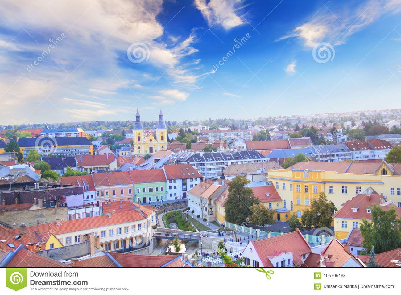 Beautiful view of the Minorit church and the panorama of the city of Eger, Hungary