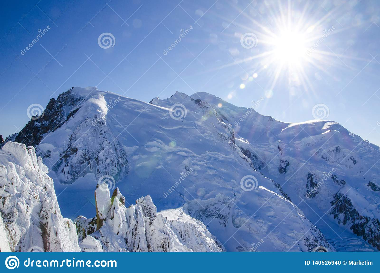 Beautiful view of Mont Blanc, highest european mountain in french Chamonix-Mont-Blanc during winter time.