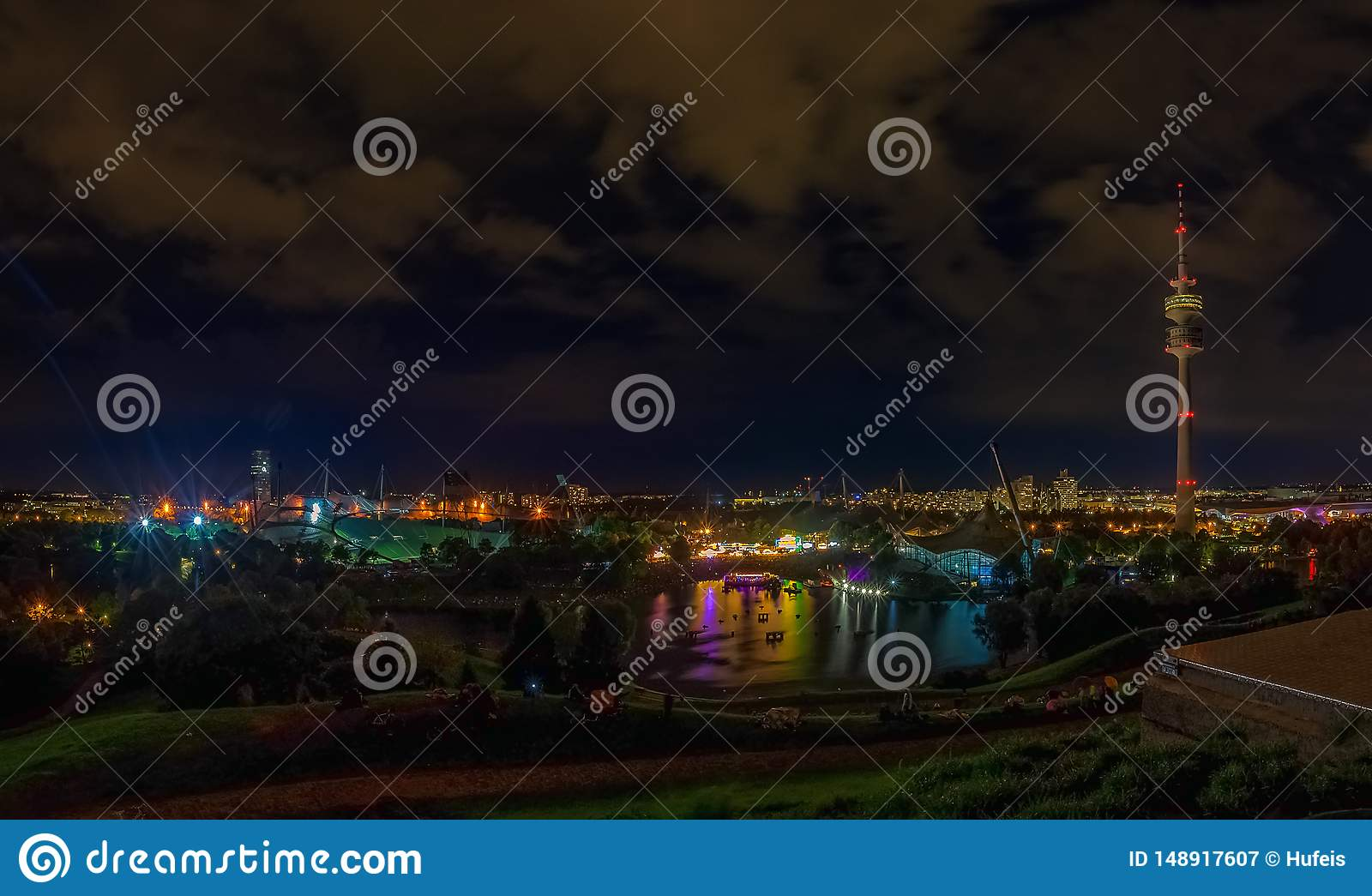 The beautiful view of the Olympic Park at night.