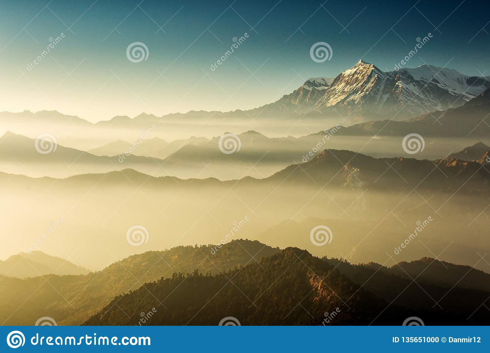 Beautiful view at Poon Hill with Dhaulagiri Peaks in background at sunset. Himalaya Mountains, Nepal