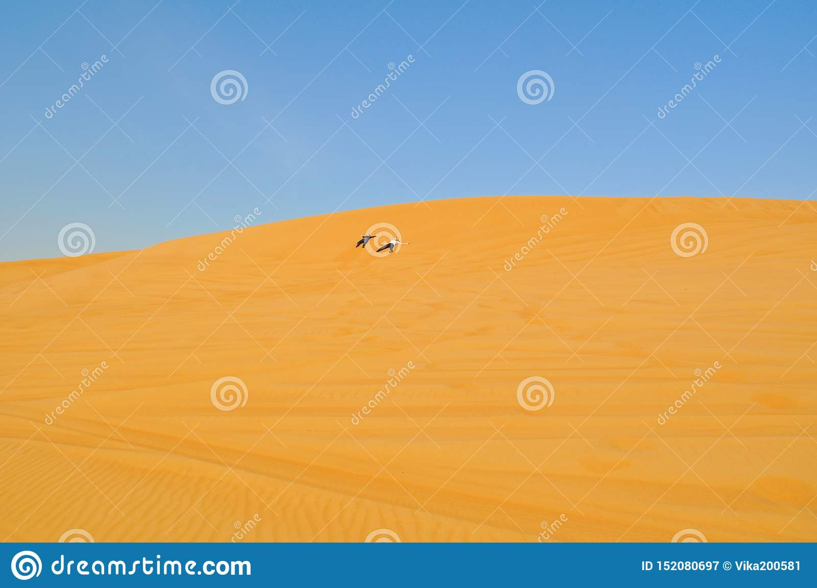 Two persons cross the desert. Active holiday in Dubai. Boundless sandy desert