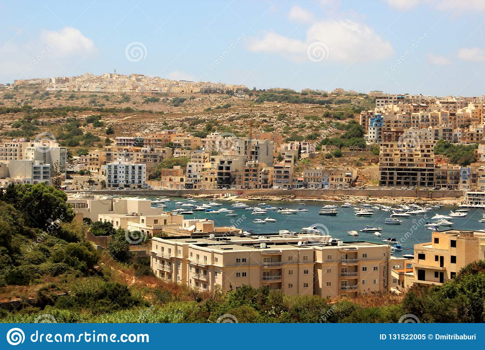 Beautiful view of the seaside resort town on the tip of the island of Malta.