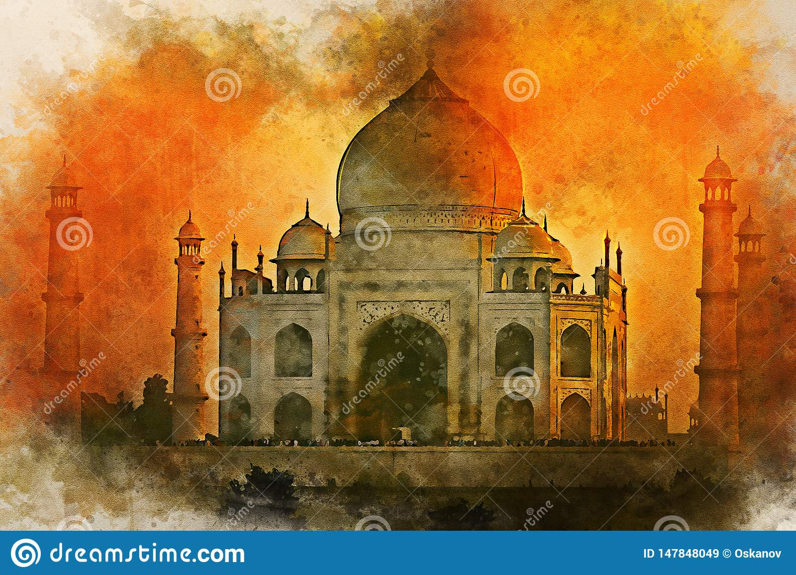 Watercolor painting of Taj Mahal scenic sunset view in Agra, India.