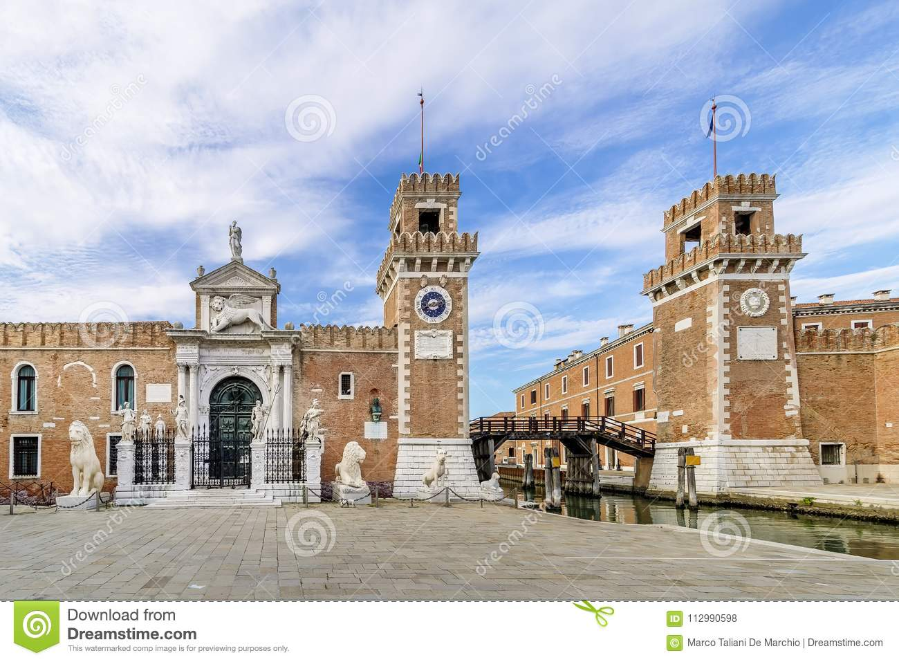 Beautiful view of the towers in the Castello district of Venice, Italy