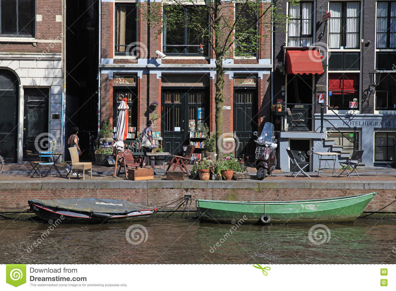 Beautiful view with traditional dutch houses along waterfront of
