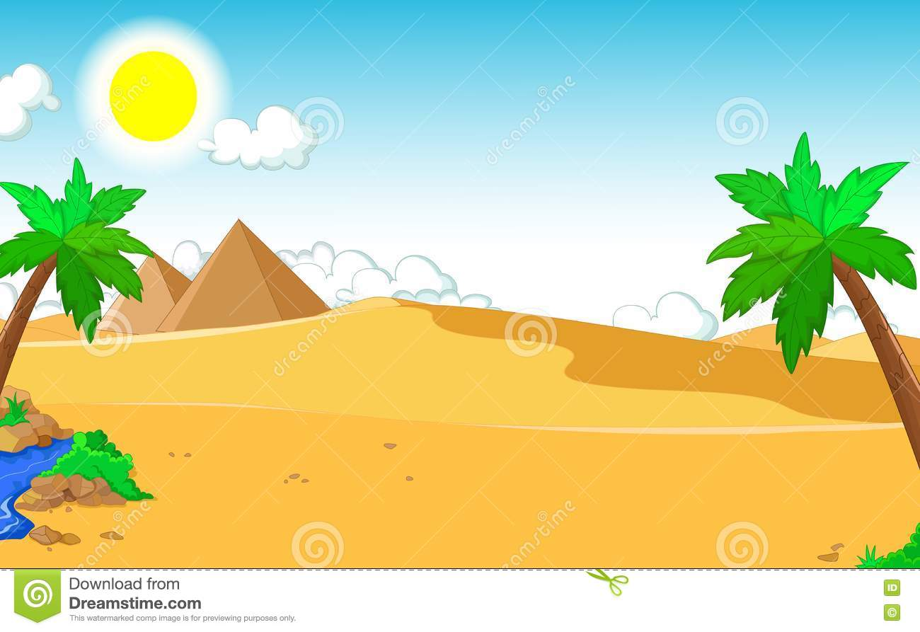 Beautiful View Of Tree Cartoon With Desert Landscape Background