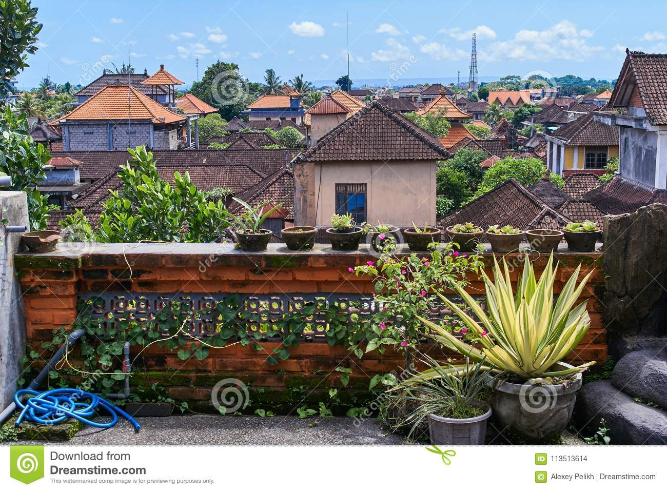 Beautiful View Of Ubud City From The Roof On Bali Island ...